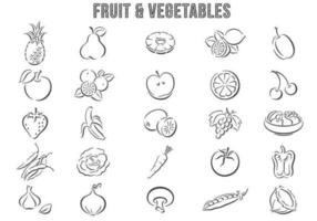 Hand Drawn Frukt och Vegetabiliska Vector Pack