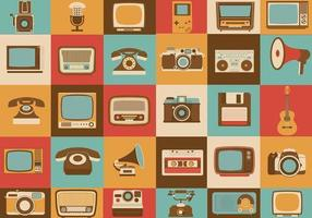 Retro media vector iconen pack