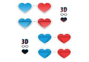 Ensemble vectoriel 3D Heart Glasses