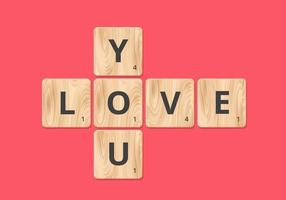 Te amo Scrabble Block Vector