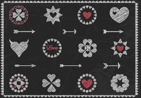 Chalk Drawn Heart Vector e Arrow Vector Pack