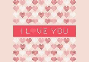 Cross-stitched-i-love-you-vector-background