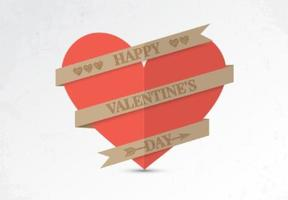Paper Valentine Heart Vector Background