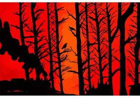 Red-sky-and-forest-silhouette-vector
