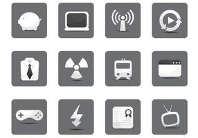 White-miscellaneous-icon-vector-pack