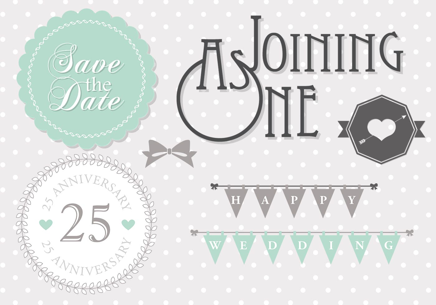 Mint Wedding Template Vector Pack  Download Free Vector Art