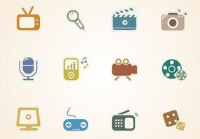 Multimedia Sticker Icons Vector