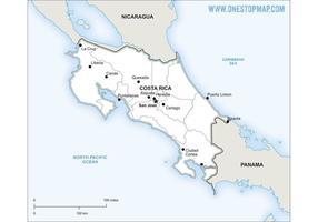 Free Vector Map of Costa Rica