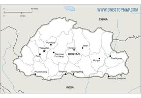 Free Vector Map of Bhutan