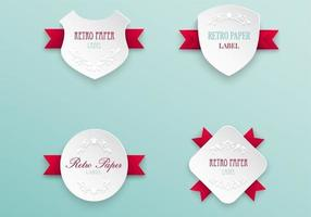 Retro Etiketter Med Ribbons Vector Pack
