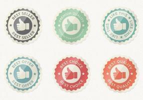Glossy Thumbs Up Badge Vector Set