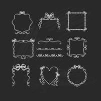 Chalk-drawn-ribbon-frame-and-border-vectors