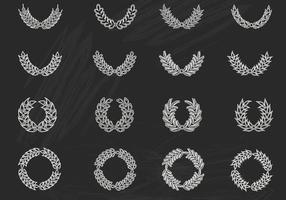 Vecteurs de guirlande de lauriers dessinés à la craie