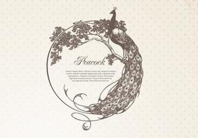 Hand Drawn Peacock Frame Banner Vector