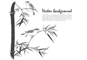 Ink-drawn-bamboo-birds-background-vector
