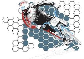 USABMX- BMX Biker Vector with Honeycomb Background