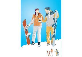 Snowboard Boy & Girl Illustration