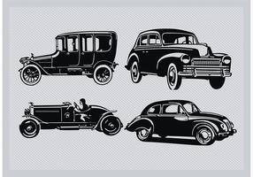 Weinlese-Auto-Schattenbild-Satz