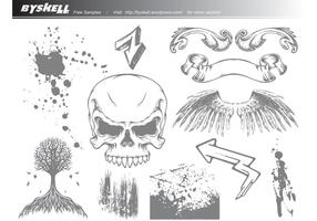 Skull-wings-grunge-vector-pack