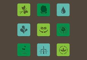 Eco Nature Icons on Colored Wood Vector Set