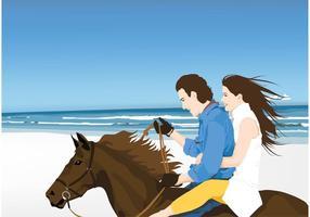 Cavaliers sur la plage