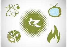 Conjunto de iconos verdes