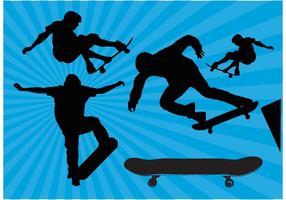Skateboard siluett vektorer