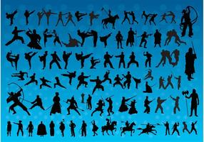 Fighting-silhouettes-vectors