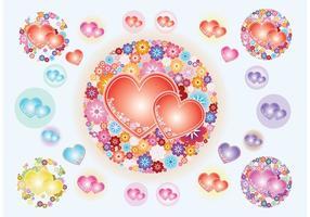 Vetores de flores do coração