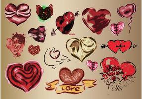 Dessins d'art vecteur de coeurs