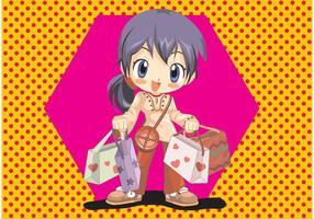 Anime Winkelen Meisje Vector