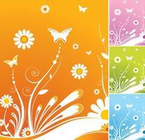 Primavera flores mariposa vector