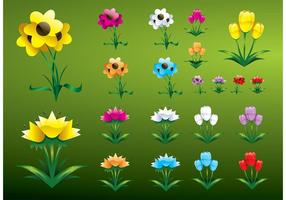 Glossy-flowers-vectors