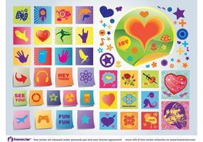 Iconos del vector del amor de la diversión