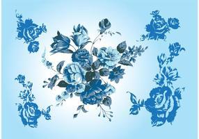 Vectores azules de la flor