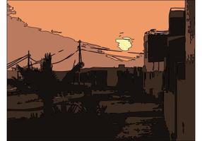 Zonsondergang stad