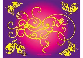 Blommig vektor virvlar runt
