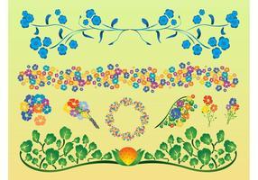 Conjunto de vectores de flores de colores