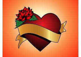 Bandera del oro del corazón del amor