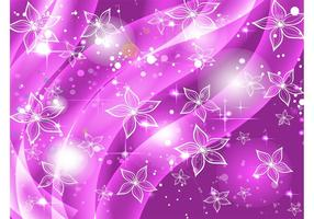 Purple Flowers Stars Background
