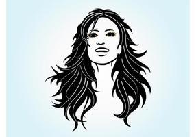 Vecteur fille à cheveux longs