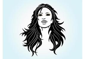 Muchacha de pelo largo vector