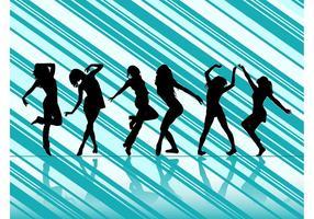 Dansande kvinnor vektor silhuetter