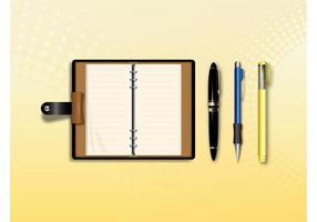 Anteckningsbok och pennor