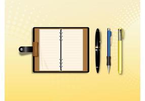 Caderno e canetas