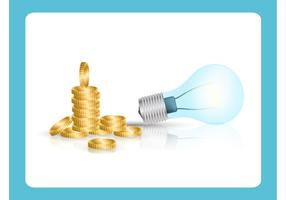 Light Bulb and Coins Vector