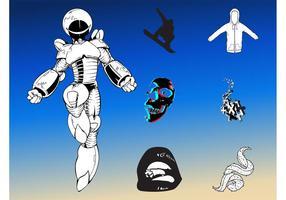Pacote futurista de robôs