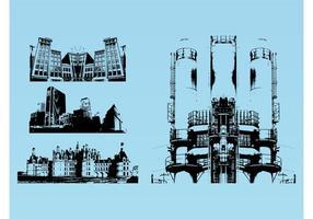 Paisajes urbanos gráficos vectoriales