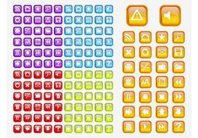Färgglada glänsande ikoner