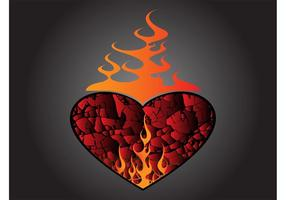 Vetor do coração ardente